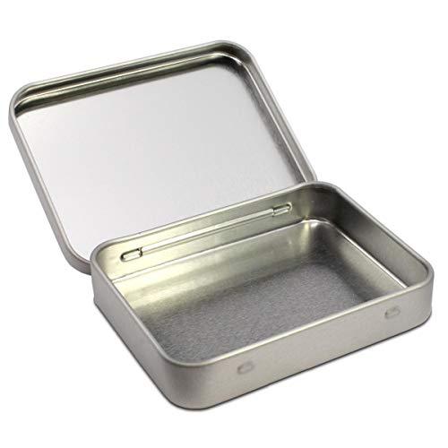 TRIOSK Caja de lata con tapa, pequeña lata de metal, 9,1 x 7,0 x 1,7 cm, cuadrada, vacía, plateada, rectangular, caja de almacenamiento para tabaco, tarjetas de visita