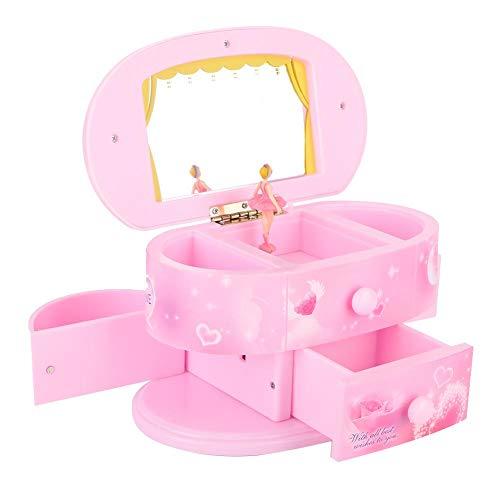 Musikalische Schmuckschatulle, tanzende Ballerina Spieluhr Schmuckschatulle Aufbewahrungskoffer mit Spiegel für kleine Mädchen Kinder(Rosa)