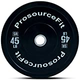Prosource Fit Solid Rubber Bumper Plates (Sold Individually) with Steel Insert, 45lb, for CrossFit, Power Lifting, Strength Training