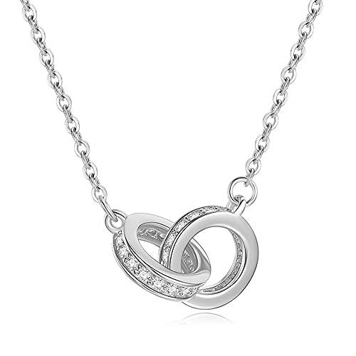 ShiningQueen Collar con dos anillos de plata de ley 925 con incrustaciones de circonio cúbico para mujer, Chapado en oro,