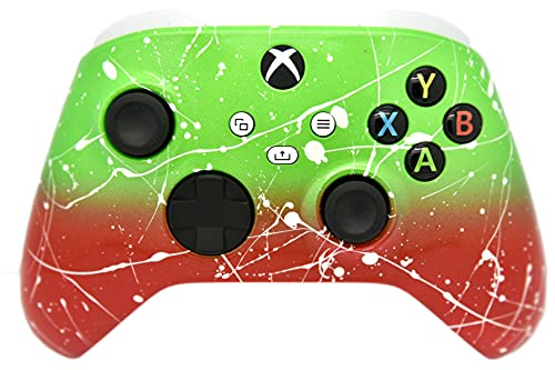 Hand Airbrushed Fade Custom Controller Compatible with Xbox Series X/S & Xbox One (Series X/S Green & Red White Drip)