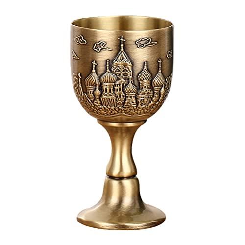 HEALLILY Copa de Cáliz de Vino Vintage Metal Grabado en Relieve Castillo Vino Copa de Licor Gótico Recipiente para Beber para King Queens Fiesta Decoración Boda Accesorios Regalo