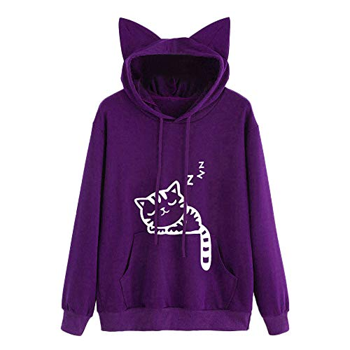 HOMEBABY Dames Kat Print Hoodie Casual Hooded Sweatshirt Leuke Tiener Meisjes Lange Mouw Sport Tops Workout Fitness Yoga Pullover Jumper Dames Blouse Herfst Shirts