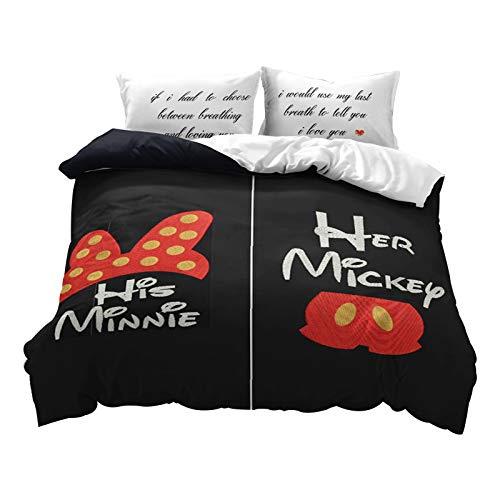 Fgolphd Disney Mickey & Minne - Juego de ropa de cama, 100% microfibra, fundas de almohada y fundas de edredón, impresión 3D, microfibra, juego de cama para niños y adultos (135 x 200 cm, 5)