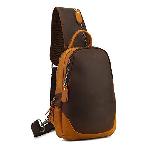 Leathario Leather Men's Shoulder Bag Leather Sling Chest Crossbody Bag Side Satchel Multipurpose Backpack