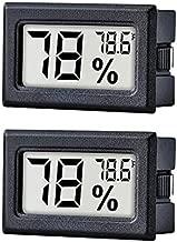Meggsi 2-Pack Mini Digital Hygrometer Gauge Indoor Thermometer, LCD Monitor Temperature Outdoor Humidity Meter for Humidors Greenhouse Jars Incubators Guitar Case, Display Fahrenheit (℉)