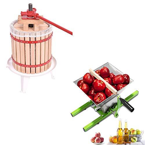 HENGMEI 18L Obstpresse Fruchtpresse Saftpresse Weinpresse Maischepresse + 7L Obstmühle Obstzerkleinerer