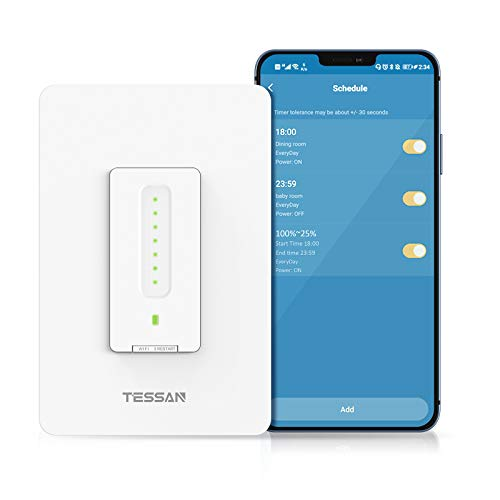 Smart Dimmer Switch, TESSAN WiFi Dimmable Switch for Led Lights, Compatible with Alexa and Google Home, Single-Pole, Neutral Wire Needed, No Hub Required