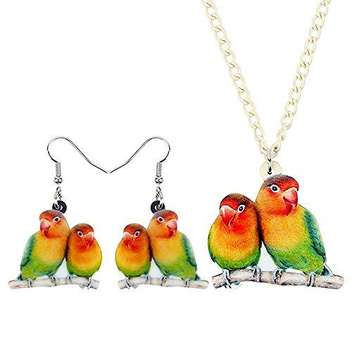 Halskette Acryl Schmucksets Wellensittich Halskette Ohrringe Choker Mode Tier-Anhänger for Frauen-Mädchen-Dekoration Frauen Halsketten Hyococ (Color : Red)