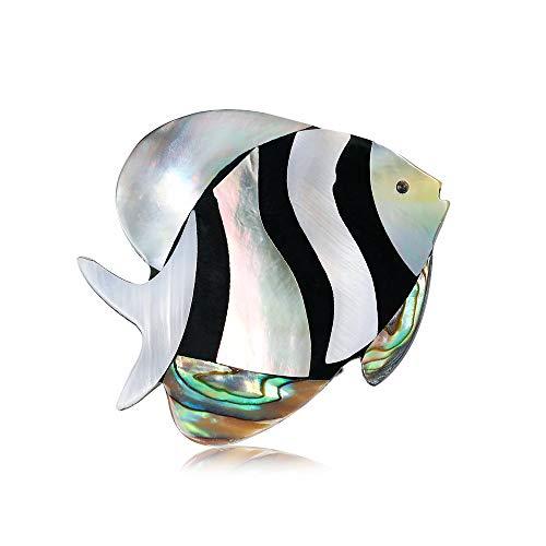 Yazilind Sea Shell Brooch Forme de Poisson Marin avec Alliage Collier Broches Corsage Bijoux pour Femmes