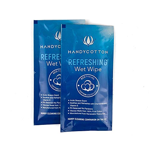 HandyCotton Individually Wrapped Wet Wipes - 10 Large Pre-moistened Cleansing Towelettes for Personal Hygiene Before and After Anything