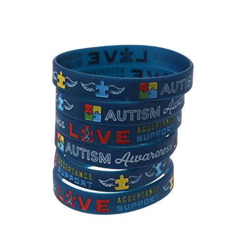 Bingxue Paquete 6 Pulseras Inspiradoras para la Conciencia del Autismo La Conciencia del Autismo CREA Pulseras de Silicona de Cambio Azul Unisex