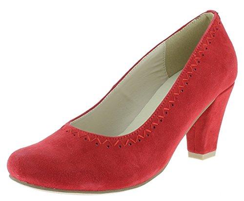 HIRSCHKOGEL Damen Pumps 3003415 Trachtenschuhe | Oktoberfestschuhe |, Farbe:rot, Größe:38 EU