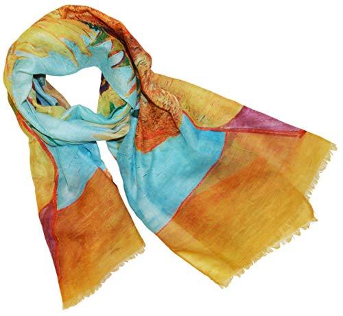 XXL Langer Schal mit Gemälde Motiv Kunstdruck Malerei Vincent van Gogh/Claude Monet/Gustav Klimt Halstuch Tücher Stola Umschlagtuch Schals (Vase mit Sonnenblumen)
