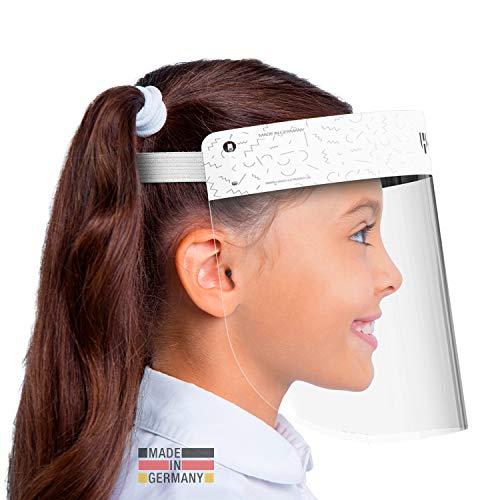 HARD 1x Pro Visera de protección facial, Certificado médico, Protector de plástico Antivaho, Pantalla protectora para niños, Hecho en Alemania - Blanco/Blanco