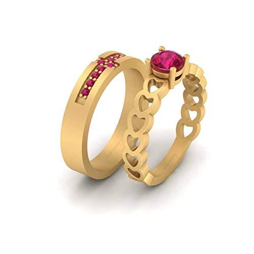 Anillo de boda con forma de corazón de rubí rosa para él y su pareja de anillos de oro amarillo Fn de plata de ley 925