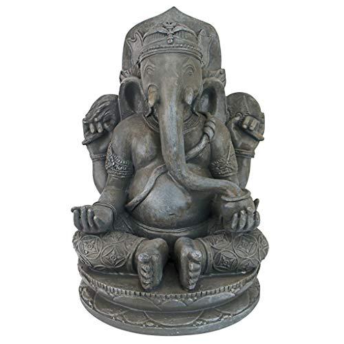 Design Toscano Sitting Lord Ganesha Hindu Elephant God Statue, 11', Grey Stone