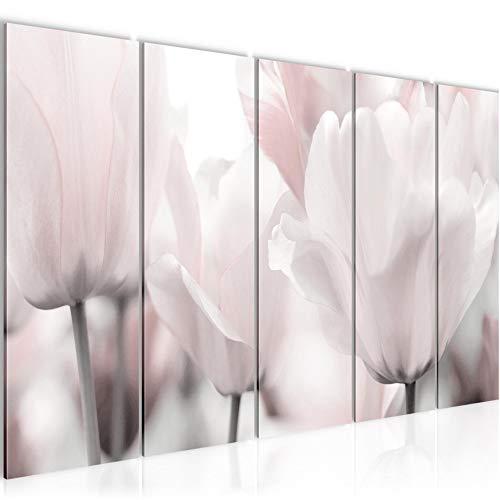 Bilder Blumen Tulpen Wandbild 150 x 60 cm Vlies - Leinwand Bild XXL Format Wandbilder Wohnzimmer Wohnung Deko Kunstdrucke Grau 5 Teilig - MADE IN GERMANY - Fertig zum Aufhängen 203956c