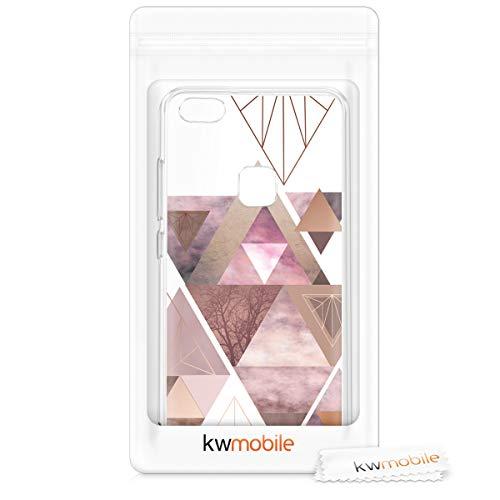 kwmobile Huawei P10 Lite Hülle - Handyhülle für Huawei P10 Lite - Handy Case in Glory Dreieck Muster Design Rosa Rosegold Weiß - 6