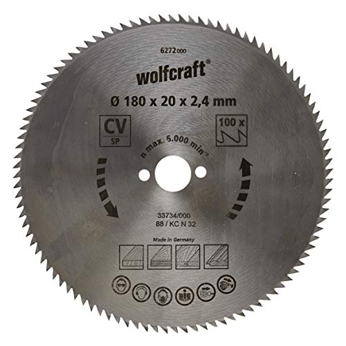 Wolfcraft 6272000 6272000-1 Hoja de Sierra Circular CV, 100 dient, Serie Azul diam. 180 x 20 x 2,4 mm, 180x20x2.4mm