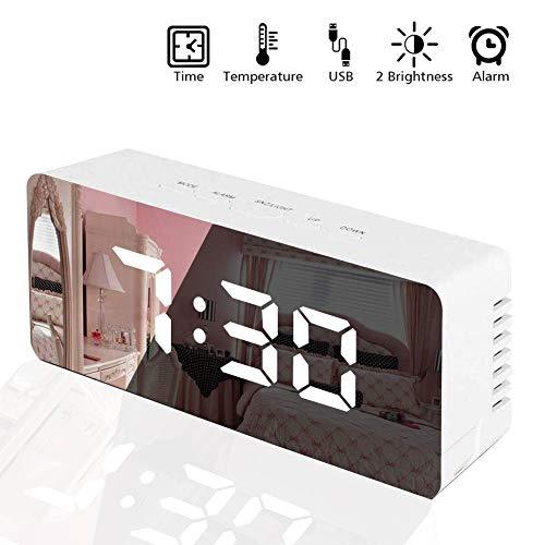 Reloj despertador digital, reloj con pantalla LED Vagalbox, mejor maquillaje, espejo de dormitorio,…