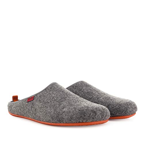 Andres Machado Unisex Hausschuhe für Damen und Herren für Sommer und Winter - Slipper/Pantoffeln Dynamic - Oberteil aus Wolle und Filz, Grau Orange, 50 EU