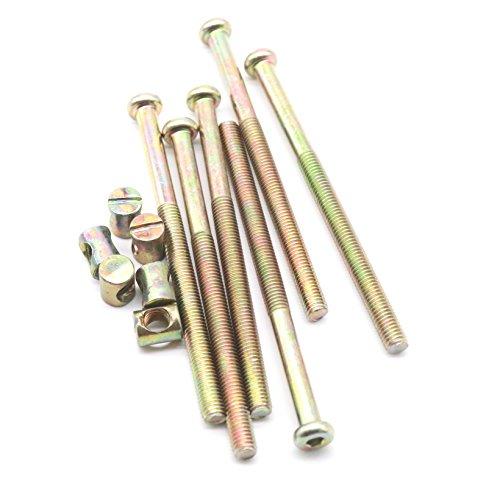 binifiMux 10-Pack M8x100mm Hex Socket Cap Half Thread Furniture Barrel Screws Bolt Nuts Assortment Kit for Crib Cot Bunk Beds Chairs