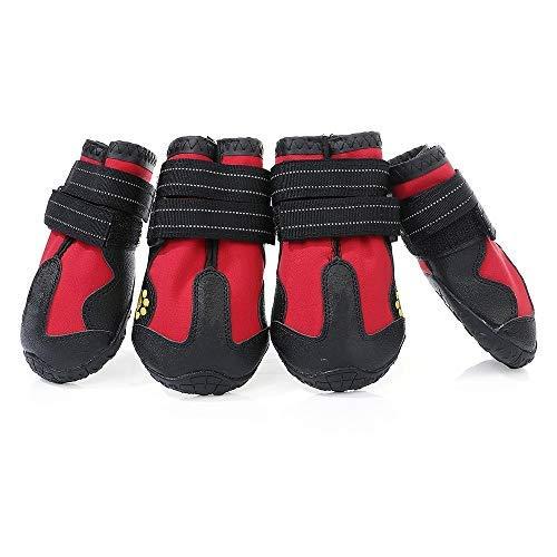 AILOVA Chaussons Pattes pour Chien Antidérapant, Bottes Chaussures De Protection Coussinets Chien en Cuir PU Imperméable pour Sol Marche Sports en Plein Air De Chiots Chiennes (L,Rouge)