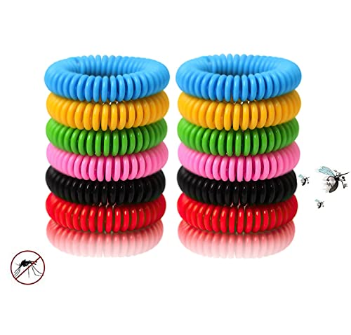 Bug Band 24 Packs Colorful Bracelets, Waterproof and Reusable with Nature Citronella, Lemongrass and Eucalyptus, Using Indoor and Outdoor and Suitable for Adults, Kids, Pet