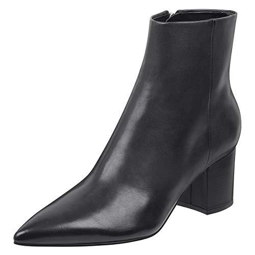 FSJ Women Dressy Pointed Toe Ankle Boots Chunky Block Heels Side Zipper Booties Formal Shoes Size 12 Black