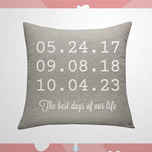 BYRON HOYLE Throw Pillow Case, The Best Days of Our Life Pillow,Kids Birth Date Pillow, Square Pillow Cover Decorative Cushion Cover for Home Car Sofa Couch Bed Decor, 20x20 Housewarming Gift
