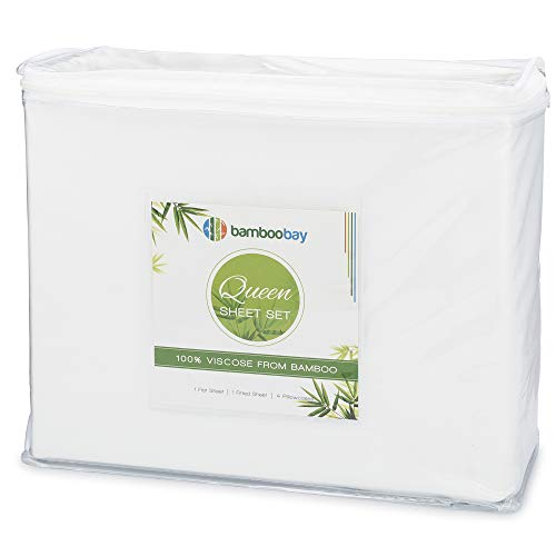 BAMBOO BAY 6-Piece Bamboo Sheet Set (7 Color Options) - Soft, Breathable & Cooling 100% Viscose from Bamboo Sheets - Extra Deep Pocket, No-Slip Fitted...