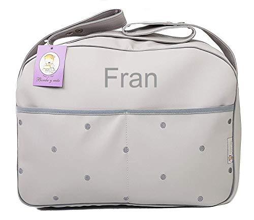 Maxi bolso para carrito de bebé BORDADA CON EL NOMBRE del bebé. Varios modelos y colores disponibles. (Gris/Gris)