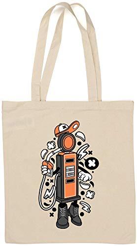 Kreskówka styl stacja benzynowa pompa paliwa naturalna bawełna torba na ramię