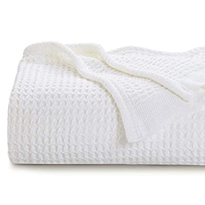 Bedsure 100% Cotton Blanket Waffle Weave Blanket White Blanket Queen - 405GSM Lightweight Blanket for Bed Couch, Soft Blanket for All Season, Cotton Thermal Blanket, 90 x 90 inches by Bedshe