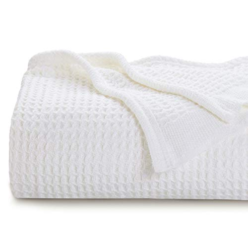 Bedsure 100% Cotton Blanket Waffle Weave Blanket White Blanket Queen - 405GSM Lightweight Blanket for Bed Couch, Soft Blanket for All Season, Cotton Thermal Blanket, 90 x 90 inches