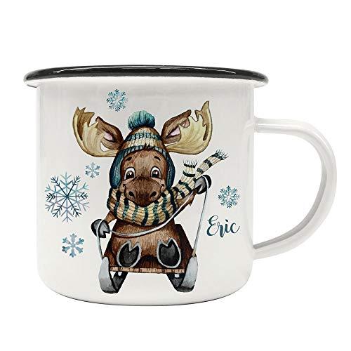 ilka parey wandtattoo-welt Emaille Becher Camping Tasse Winter Elch Schlitten & Name Wunschname Kaffeetasse Weihnachten Geschenk Weihnachtsmotiv eb477