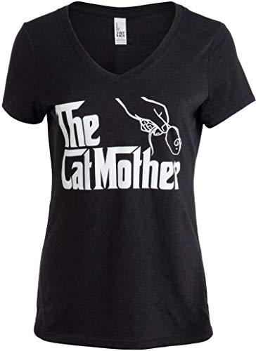 The Catmother | Funny, Cute Cat Mother Mom Owner Pet Kitty Kitten Women V-Neck T-Shirt-(Vneck,XL) Vintage Black
