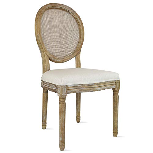 2xhome Cream Color Upholstered Button Tufted Back Fabric Plastic Style Dining Chair Modern Arm Chair with Padded Solid Wood Legs (Rattan Back)