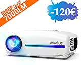 Vidéoprojecteur, WiMiUS 7000 Lumens Full HD 1920x1080P Natif Vidéo Projecteur Supporte 4K Son Dolby HiFi SoundBar Rétroprojecteur, Réglage Digital 4D, avec VGA HDMI AV USB pour Home Cinéma PS4 PPT
