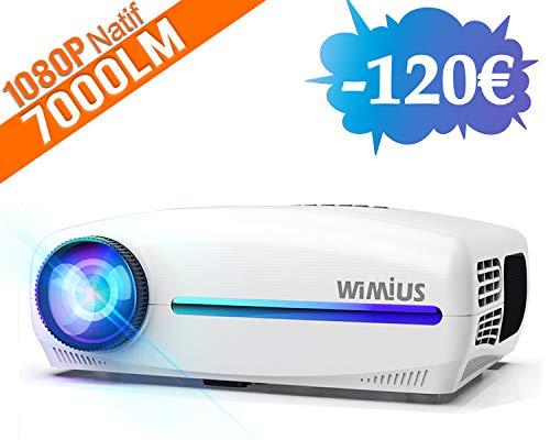 puissant Vidéoprojecteur, vidéoprojecteur intégré avec support audio WiMiUS 7000 lumens Full HD 1920 × 1080 P4K…