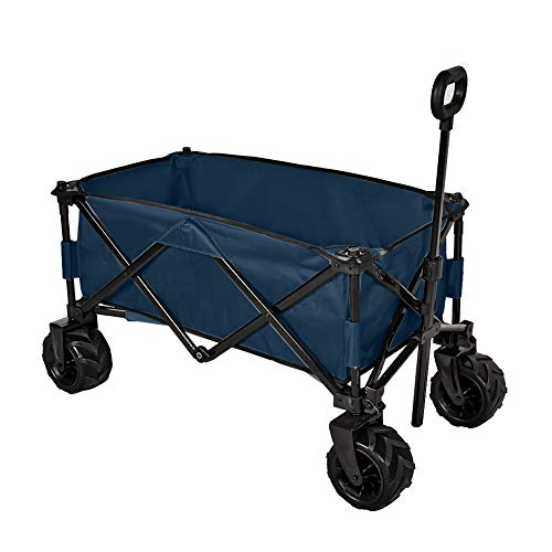 MAGIC UNION Folding Wagon Collapsible Utility Big Wheels Shopping Cart for Beach Outdoor Camping Garden Canvas Fabric All Terrain Heavy Duty Portable Grocery Cart Buggies Adjustable Handle (Navy)