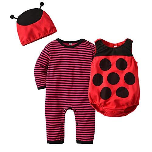 3 pezzi Travestimenti Halloween Costume Coccinella Neonato Pagliaccetto + Cappello + Gilet Sets Rosso Abbigliamento Invernale per Bambino Bambina/80cm