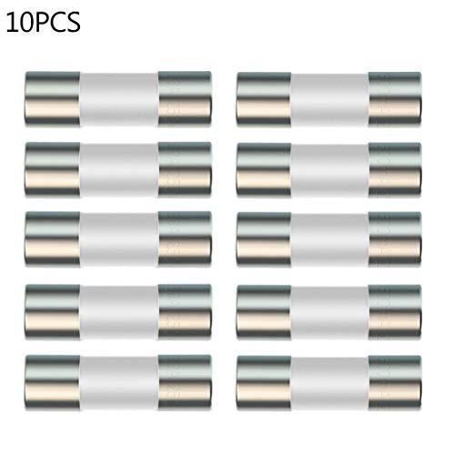 BIlinli Fusible de cerámica de 20 Piezas para Instrumento multímetro 600mA 10A Fusible de Enchufe británico de cerámica