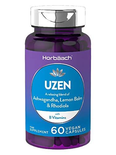 Uzen | Natural Anxiety & Stress Relief, Mood Support | Ashwagandha, Lemon Balm & Rhodiola | + Magnesium, Vitamin B & Zinc | 60 Vegan Capsules | Non-GMO, Gluten Free Supplement
