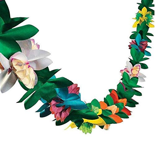 Hawaiian Kranz.8ft Donner Kranz Gewebeblumenkranz Farbiges Papier Blumen-Banner Hawaiian Band Moana Tropische Luau Dschungel-Thema-Sommer-Party (1)