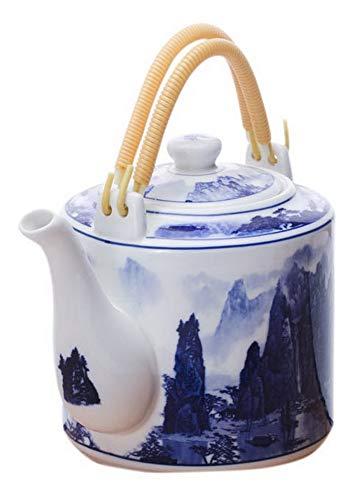 Teiera bollita bollitore in ceramica fredda con doppio manico, 70 oz, fiumi e montagna