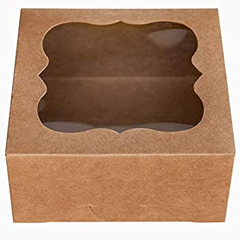 ONE MORE 6 x6 x3 Brown Bakery Boxes with PVC Window for Pie and Cookies Boxes Small Natural Craft Paper Box 6x6x3inch,Pack of 15