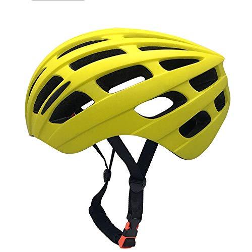 U/D Hombres y Mujeres Adultos Montar Bicicleta del Casco Integrado de moldeo Ligera de Equipos Deportivos Equipo de Protección (Color : Amarillo)
