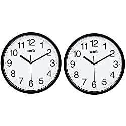 2 Pack Silent Wall Clock,10 Inch Quartz Decorative Wall Clock Non-Ticking Classic Digital Clock Battery Operated Round Easy to Read Home/Office/School Clock (Black)